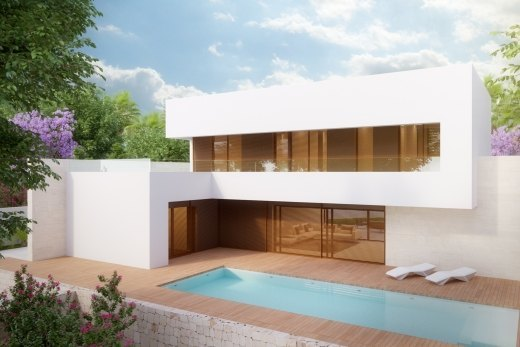 Modern sea view villa in construction for ...